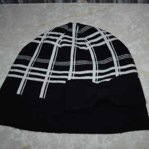Kate Spade Black White Plaid Bow Beanie Hat